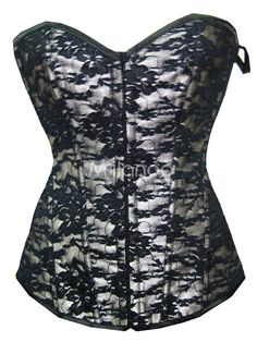 Victorian Style Black Lace Floral Womens Corset