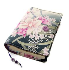 Handmade Book Cover in Kimono Silk Fabric by WhimsyWooDesigns
