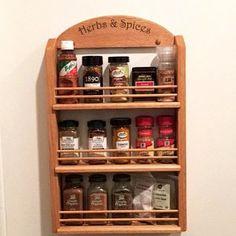 Wooden Spice Rack Oak 12 jar 3 shelves of 4 jars