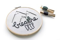 Mountain Embroidery Hoop. Breathe Deep Wall by ohmyheartembroidery