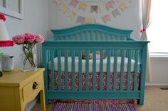 Project Nursery - Teal and Yellow Girl Nursery Painted Crib