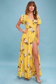 Heart of Marigold Yellow Print Wrap Maxi Dress! Tropical print wrap maxi dress with a surplice bodice, and short sleeves. Backless Maxi Dresses, Maxi Wrap Dress, Boho Dress, Maxi Skirts, Wrap Dresses, Long Dresses, Sheer Dress, Dress Long, Party Dresses