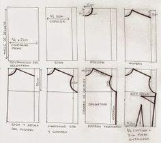 patronycostura.blogspot.com patrón base señora Sewing Tutorials, Sewing Hacks, Sewing Projects, Sewing Class, Sewing Basics, Clothing Patterns, Sewing Patterns, Sewing Blouses, Dress Making Patterns