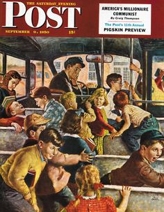 Monday Morning Bus Ride, art by Amos Sewell. Detail from Saturday Evening Post cover September Some things never change. Retro Art, Vintage Art, Retro Kids, Norman Rockwell Art, Saturday Evening Post, Art Et Illustration, American Illustration, Bus Ride, Vintage School