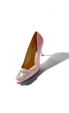 Manolo Blahnik Hangisipe Pink Satin Pearl Buckled Pump #highheels #celebrity #rtw2018 #outfitideas #blackfriday #cybermonday2018 #perfectpair Manolo Blahnik Hangisi, Pink Satin, Kitten Heels, High Heels, Pumps, Flats, Pearls, Celebrities, Shoes