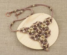 Brown and Beige Beaded Necklace by CatchTheBeads on Etsy