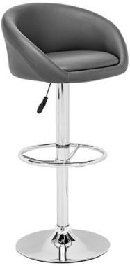 Zuo Olympia Chrome with Gray Modern Bar Stool