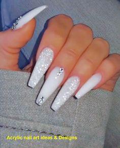 white nails with rhinestones ~ white nails . white nails with designs . white nails with glitter . white nails with rhinestones . Rhinestone Nails, Bling Nails, Swag Nails, Coral Nails, Nail With Rhinestones, Grunge Nails, White Coffin Nails, Coffin Nails Long, Long White Nails
