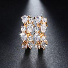 Effie Queen Jewelry 8 Pieces AAA Austrian Zircon Earrings Women Gold-color Stud Earrings for Gift