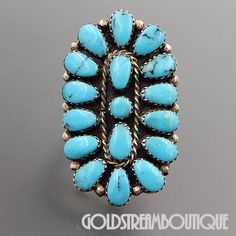 TOM BILLY NAVAJO STERLING SILVER TURQUOISE LARGE OVAL CLUSTER RING SIZE 7.25