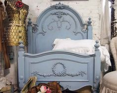 Painted Cottage Shabby Periwinkle Romance Bed by paintedcottages from paintedcottages on Etsy. Vintage Furniture, Painted Furniture, Furniture Design, Painted Headboard, Blue Headboard, Dreams Beds, Painted Cottage, H & M Home, Blue Bedding