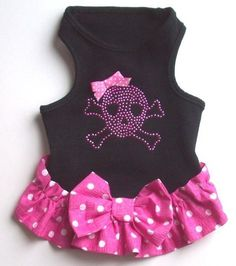 Dog Dress Pink Black Wife Beater Dog Dress with Pink by miascloset, $16.00