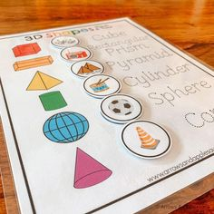 Help your little ones master their three dimensional shapes with this printable 3D Shapes Match & Trace Game. Match each object with the appropriate 3D shape, then trace the name of each shape (you'll have to laminate it to make it dry erase). Great for math stations, busy binder activities, quiet time, and homeschool. The perfect addition to your preschool and kindergarten curriculum. ::: I N S T A N T ♥ D O W N L O A D ::: **This is a DIGITAL DOWNLOAD. No physical items will be mailed to y Shape Matching, Matching Games, Kindergarten Curriculum, Dimensional Shapes, Math Stations, 3d Shapes, Learning Activities, Binder, Little Ones