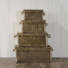 I've been collecting lidded baskets in various sizes.  Stacked, empty, they're taller then I am.  Some have round fiber weave, others have flat.  I am torn between stacking matching types, stacking by size, or distributing them about the house.