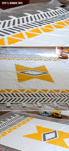 Geometric Painted Curtains DIY // LoveCreative Blog