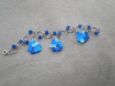 Minecraft Diamond Bracelet blue perler by PeasToo2chalknbeads