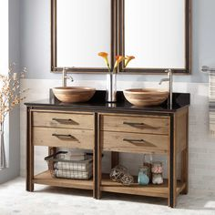 "60"" Benoist Reclaimed Wood Console Double Vessel Sink Vanity - Gray Wash Pine"