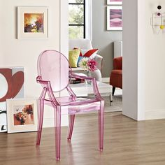 Modway Furniture Casper Dining Armchair in Pink Combine artistic endeavors into a unified vision of harmony and grace with the ethereal Casper Chair. Allow bursts of creative energy to r Patio Dining Chairs, Dining Arm Chair, Side Chairs, Outdoor Dining, Desk Chairs, Swivel Chair, Chair Cushions, Indoor Outdoor, Ghost Chairs