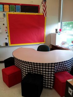Guided Reading Center with seats that can store supplies designed by Apple A Day. Looks so neat and cheerful!