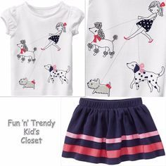 NWT Gymboree BEST IN SHOW Girls Sz 4T Walking Dogs Tee Shirt Top Skirt 2-PC SET #Gymboree #Everyday