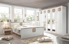 """Moderní ložnicový nábytek v skandinávském stylu v atraktivní kombinaci bílé a dřevěného dekoru """"dub Riviera"""" Best Resume, Design Inspiration, House Design, Storage, Furniture, Home Decor, Products, Bed Frame, Pool Chairs"""