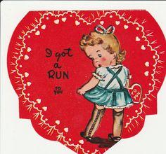 1940s Valentines Day Card Die Cut Flocked by StuckyEstateSale