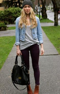 Peek of lace under a low V, little denim jacket, black jeans and booties