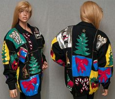 VINTAGE 80S MODI EXTREME CRAZY UGLY XMAS FULL SEQUINED JACKET SWEATER PARTY WINNER!