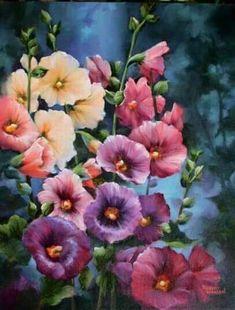 """Hollyhock Kaleidoscope"" - by Robert Warren. Garden Painting, Tole Painting, Paintings I Love, Flower Paintings, Painting Flowers, Hollyhocks Flowers, Bright Flowers, Arte Floral, Flower Art"