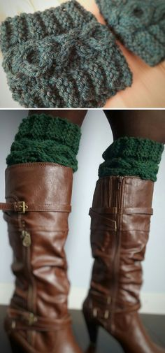 Knitting Pattern for XOXO Cable Chunky Boot Cuff - Quick boot toppers use just 100 yards of bulky yarn and feature cables in hug and kisses symbols. 2 sizes.Designed by Kirsten Apgar