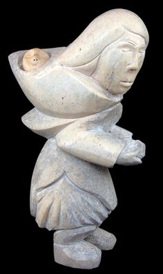 This Mother and child carving by Canadian Inuit artist Idris Moss-Davies is made out of whale bone. #inuit #iazmother #inuitartzone Avalaible, 1480$