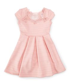 Just Kids Blush Lace-Accent Fit & Flare Dress - Toddler & Girls | zulily