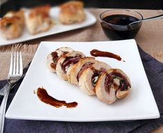 Italian flavors come to life in this beautiful Italian-Stuffed Chicken Breast with Balsamic Vinegar Sauce. Balsamic Glaze Recipes, Balsamic Chicken Recipes, Recipe Chicken, Italian Stuffed Chicken, Dessert For Dinner, Italian Recipes, Love Food, Yummy Food, Yummy Yummy