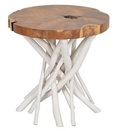 "22"" Round Wood Top White Branch Legs Table"
