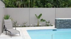 View our gallery of residential and commercial modular wall solutions; fencing, boundary walls, retaining walls, noise barriers and more. Fence Wall Design, Front Wall Design, Modern Landscape Design, Landscape Plans, Small Backyard Pools, Swimming Pools Backyard, Fence Landscaping, Modern Landscaping, Pool Paving