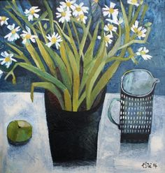 Este MacLeod-Daisies and Milk Jug, Acrylic, 25 x 24 inches | Red Rag Gallery