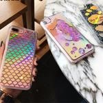 FREE! Expression Cases/ Dynamic Quicksand Cases Mermaid Scales Glitter Cartoon Shinny Laser Phone Cases For iPhone 7 7plus 6 6s 6plus Cover