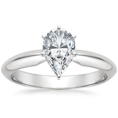 Pear Cut Six-Prong Classic Diamond Engagement Ring - 18K White Gold