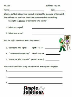 Suffixes er and ist Worksheets | School Days | School Days by Tori ...