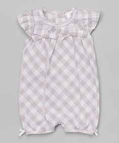 Look at this Gray & White Plaid Romper - Infant on #zulily today!