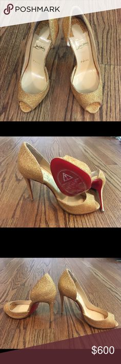 Not wearing high heel shoes Original, brand new Christian Louboutin sparkly peep toe. Never worn. In original bag with sole tag. Christian Louboutin Shoes Heels