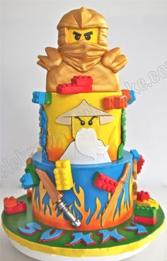 Savory magic cake with roasted peppers and tandoori - Clean Eating Snacks Lego Ninjago Cake, Ninjago Party, Lego Cake, Lego Superhero Cake, 2 Tier Cake, Tiered Cakes, Ninja Birthday, 5th Birthday, Birthday Cakes