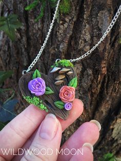 This rosy piece was inspired by John Donne and a fairytale cottage in the woods, but with a kawaii twist. Measures approximately 2.5 in (L) x 2 in (W). Will arrive on a silver chain with extender clasp. Jewelry will come in a paper box, gift-ready. I re-use salvaged bubble wrap