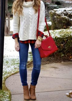 Winter Layers - Cream turtleneck cable knit sweater, red flannel shirt, jeans, Charlotte Russe chunky heel ankle booties, red purse