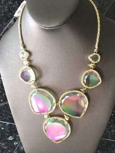 My Kendra Scott Rebecca Clear Iridescent Statement Necklace NWT by Kendra Scott! Size  for $$250.00. Check it out: http://www.vinted.com/accessories/necklaces/22008256-kendra-scott-rebecca-clear-iridescent-statement-necklace-nwt.
