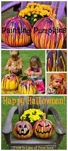 A Fun and Easy Way to Paint Pumpkins!! Squeezing paint onto pumpkins and lettting them drip! Hot glue black foam pieces to pumpkins when dry to create jack-o-lantern!