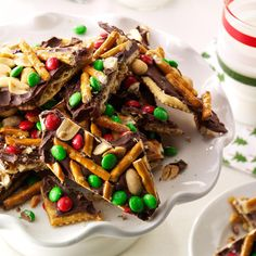 "Chocolate, Peanut & Pretzel Toffee Crisps Recipe -My ""crispers"" are the ultimate combination of salty and sweet. They never last long because—trust me—they're addictive! Make the recipe the way it's written or sprinkle on any treats you like. —Jennifer Butka, Livonia, Michigan"
