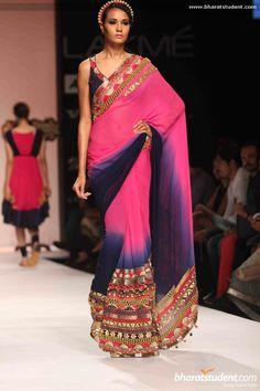 Pallavi Jaipur ombre black and fuchsia sari.
