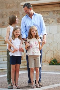 On August 03, 2015, King Felipe VI and Queen Letizia posed with their daughters Leonor, Princess of Asturias and Infanta Sofia of Spain during the traditional photocall of the royal family at the beginning of their summer holidays at Marivent Palace in Palma de Mallorca, Balearics Islands, Spain.