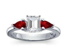 Emerald-Cut Diamond Ring with garnets